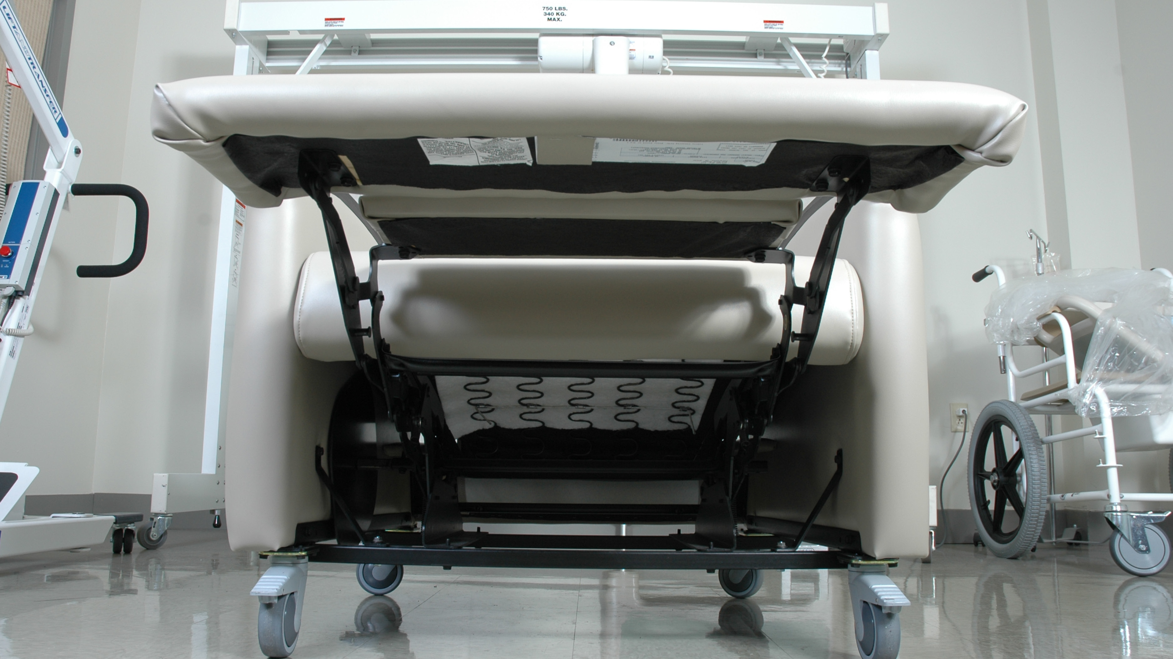 The Underside Of A Bedside Recliner Showing Steel-To-Steel Construction