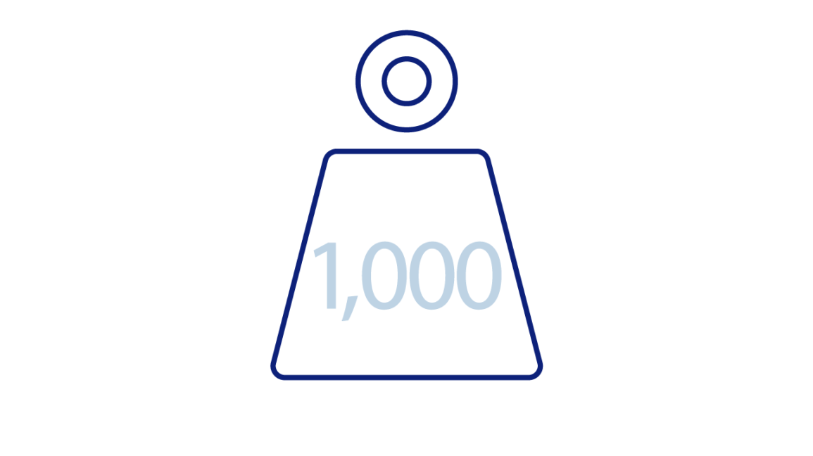 Weight dumbbell icon with 1,000 pound indicator