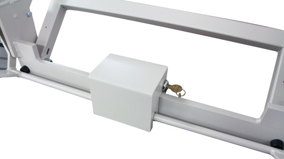Close-up of lock box on bed frame caster axel